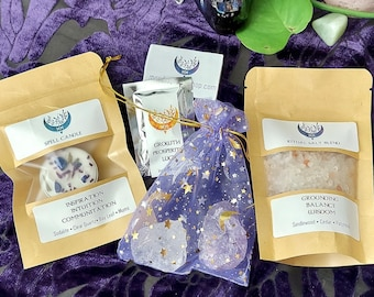INTUITION MYSTIC KIT • Candle Spell Gift Set • Intention Charged Candle, Crystals, Incense, & Ritual Salt  •  Witch Kit • Candle Magick Kit