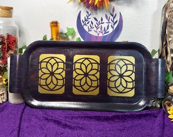 WOODEN TAROT TRAY - Three-Card Spread Board - Original Moody Mystic Design - Divination Tool - Crystal Grid - Gold Decal - Witchy Home Decor