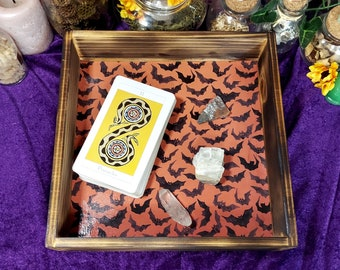 WITCHY ALTAR TRAY - Burnt Birch Wood Tray with Cute Bat Print Lining - Altar Display - Crystal Storage - Witchy Home Decor - Witchy Shelf