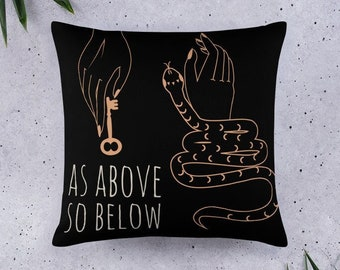 AS ABOVE So BELOW Pillow- Witchy Throw Pillow - Mystical Home Decor Witch Home Decor - Eclectic Witchy Gift - Witchy Home Accessories - 18in