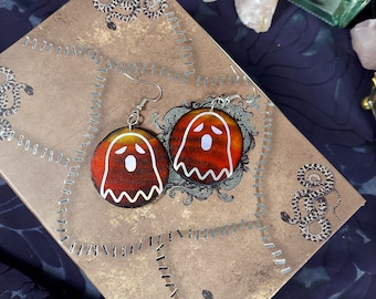 HOLO GHOST EARRINGS - Handmade Wooden Earrings with a Variety of Designs- Unique Hand Painted Jewelry - Birch Wood Earrings - 1.5 inch