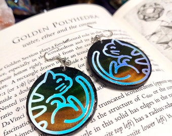 OPAL KITTY EARRINGS - Handmade Wooden Earrings with an Adorable Kitty Design - Unique Hand Painted Jewelry - Birch Wood Earrings - 1.5 inch