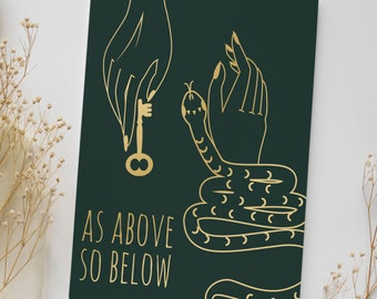 As ABOVE SO BELOW Journal - Witchy Art Notebook - Witchy Journal - Grimoire Book - Spell Book - Mystic Notebook - Witchy Gift 8.5x11