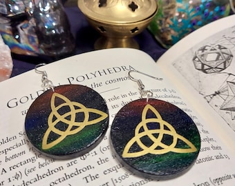 GOLD TRIQUETRA EARRINGS - Handmade Wooden Earrings with a Mystical Triquetra Art Unique Hand Painted Jewelry - Birch Wood Earrings - 1.5 in.