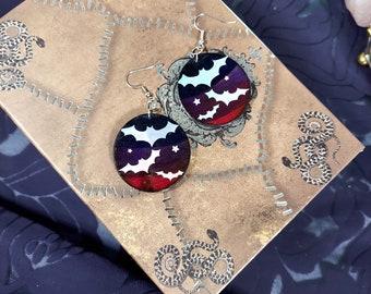 HOLO BATS EARRINGS - Handmade Wooden Earrings with a Flying Bat Design- Unique Hand Painted Jewelry - Birch Wood Earrings - 1.5 inch