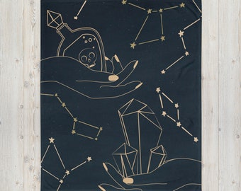 CELESTIAL HANDS Throw Blanket- Celestial Hands Art Decor - Witchy Throw Blanket- Mystical Home Decor Witch Home Decor - Eclectic Witch Gift