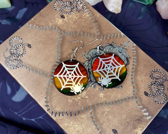 HOLO SPIDER WEB Earrings - Handmade Wooden Earrings with a Spooky Spider Art - Unique Hand Painted Jewelry - Birch Wood Earrings - 1.5 inch