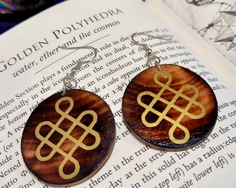 GOLDEN ENDLESS KNOT Earrings - Handmade Wooden Earrings with Endless Knot Art- Unique Hand Painted Jewelry - Birch Wood Earrings - 1.5 inch