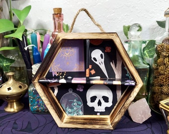 SMALL CURIO SHELF - Hexagon Wood Display with Flying Bats Print - Altar Display - Crystal Storage - Witchy Decor - Crystal Display Shelf