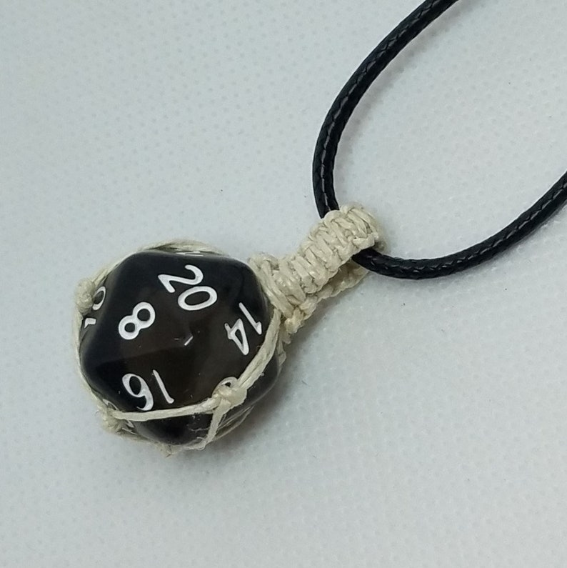 Hemp Wrapped DND Penumbra D20 in Black Hemp Pendant Necklace or Rear View Mirror Decoration or Christmas Tree Ornament