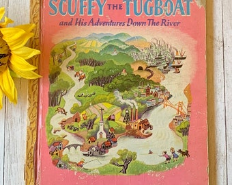 Vintage 1946 Scuffy the Tugboat, Little Golden Book, Children's Book, Classic Book, Storybook, Junk Journal, Picture Book, Bedtime Story