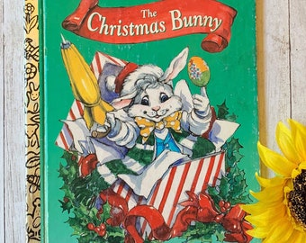 Vintage The Christmas Bunny, Golden Book, Children's Book, Vintage Storybook, Christmas Book, Christmas Story, Junk Journal, Picture Book