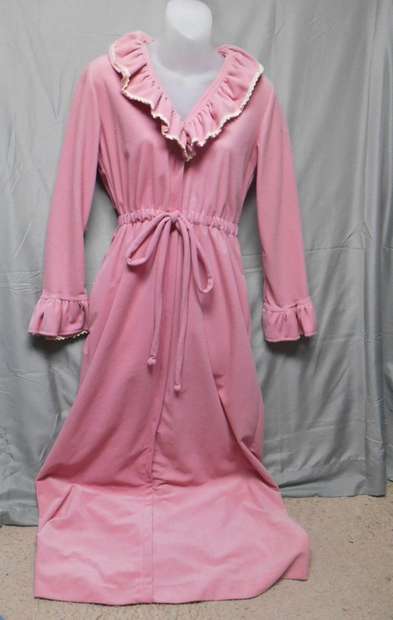 Vintage Loungees pink long robe womens size small