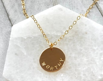 inspirational recovery.self love.hand-stamped-.self confidence.spiritual necklace. I am enough worthy and beautiful-loved medallion