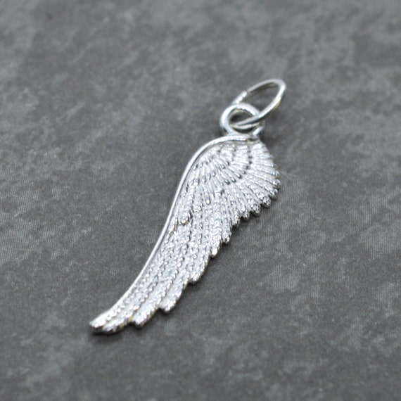 2 of 925 Sterling Silver Rose Gold Vermeil Style Angel Wing Charms 10x22 mm :pg0152