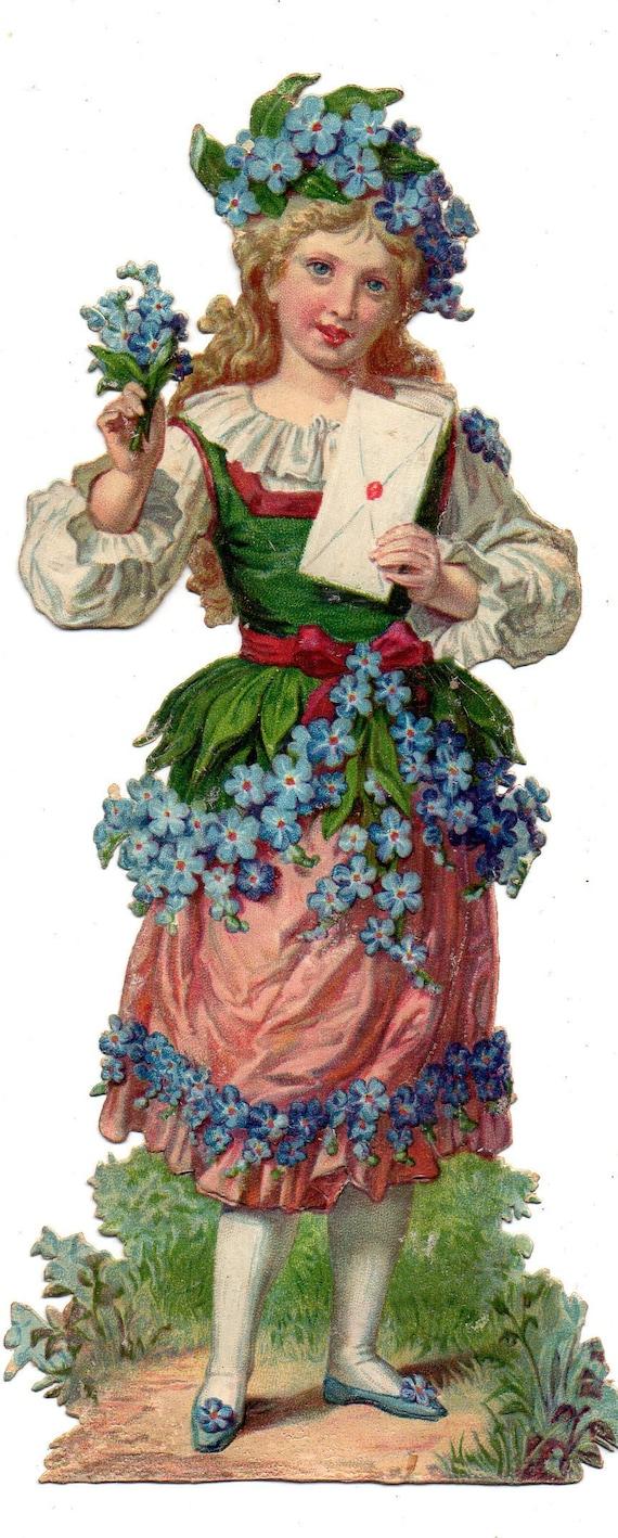 Chromo decupies vintage Fairy Spirit fairy of Nature Woman-butterfly Fairy Spirit of Nature Scrapbooking Victorian die cut