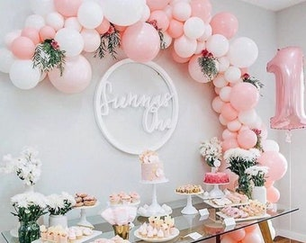 125pc Baby Pink & White Balloon Garland Kit-Baby Shower, Bridal Shower, 1st Birthday, Girl's Birthday