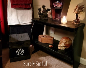 Coffin Shelf, Coffin Bench, Coffin Furniture, Coffin Home Decor, Gothic, Occult, Witchy, Witchcraft, Fantasy, Storage, Bedroom, Entryway