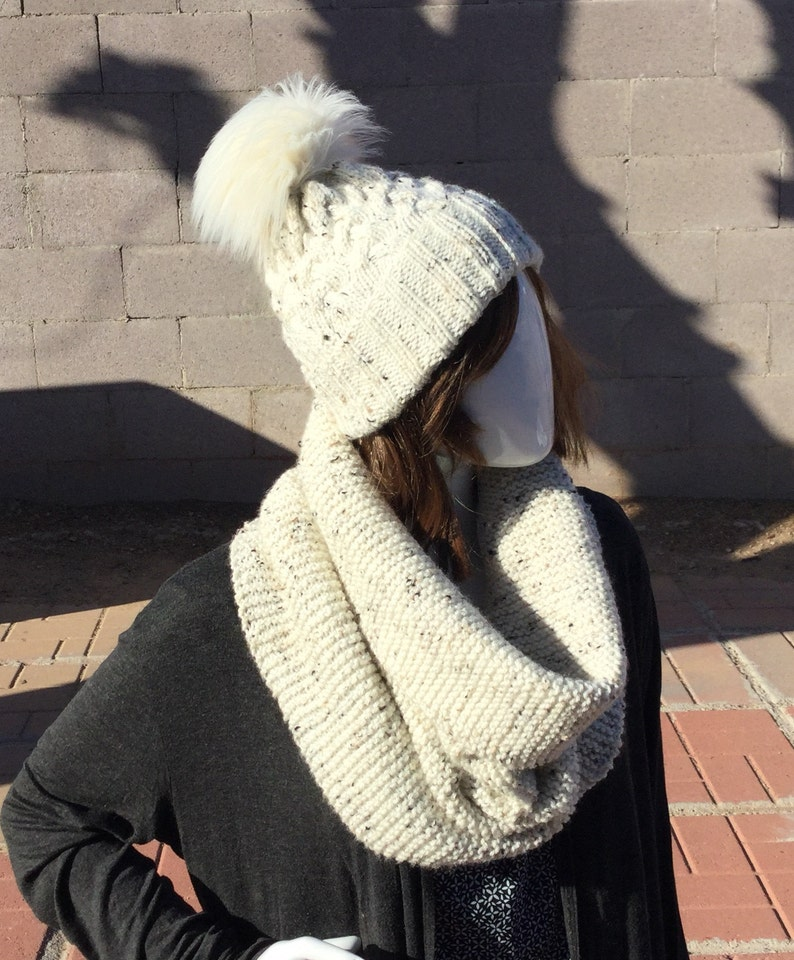 winter knits Braided Cable Knit Hat /& Infinity Cowl Set; knitted hat and scarf set knitted hat cable knits knitted cowl knits for her