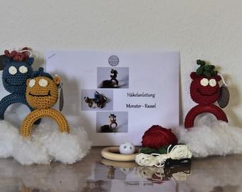 Crochet set monster rattle, DIY set for self crocheting