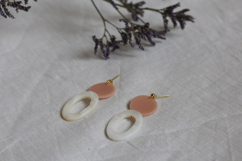 LA pearl nude rosegold earrings unique with mother-of-pearl and polymer clay