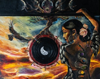 Spiritual-Metaphysical Sade Inspired original Painting Print. Meditation-yoga-tree of life-Yin Yang-Hawk- Kundalini Wall Art