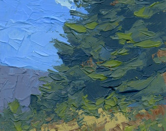 Original Painting Wall Art, Nature Mountain Landscape, Two Evergreens on a Hill, Acrylic Impressionism, Vertical 7 X 5