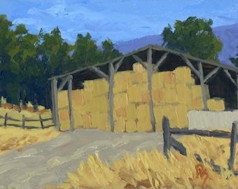 Original Painting Wall Art, Rural Farm Landscape, Large Hay Barn in Summer, Impressionist, Horizontal 5 X 7