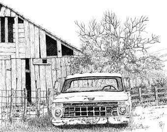 Original Drawing Rural Vintage Truck Wall Art, Abandoned 1965 Ford Pickup, Pen Ink, Horizontal 8 X 10