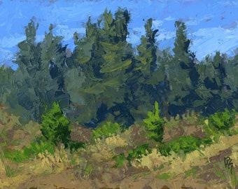 Original Painting Wall Art, Nature Mountain Landscape, Evergreen Hillside, Acrylic Impressionism, Horizontal 12 X 16