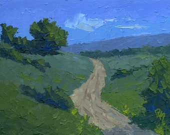 Original Painting Wall Art, Nature Landscape, Winding Through the Hills, Acrylic Impressionism, Horizontal 9 X 12