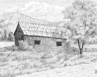 Original Drawing Rural Landscape Wall Art, The Old Wood Barn, Pen Ink, Horizontal 5 X 7