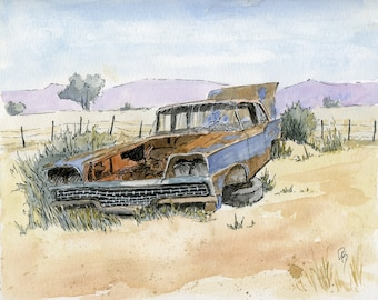 Original Line and Wash Wall Art, Automotive Classic Car, Abandoned 1959 Ford Fairlane, Pen and Watercolor, Horizontal 8 X 10