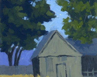 Original Painting Wall Art, Summer Rural Utah Farm Landscape, Rural Gray Barn, Impressionist, Vertical 7 x 5