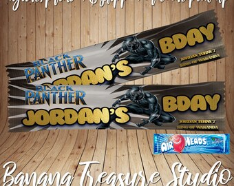 Black Panther Mini Sour Patch Candy Wrapper-Custom Candy Wrappers-Custom Candy Box Labels-Custom Party Favors-Printed-Assembled-All Themes!