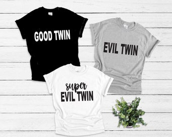 Good Twin Evil Twin WOMENS T-SHIRT tee birthday sibling brother sister funny