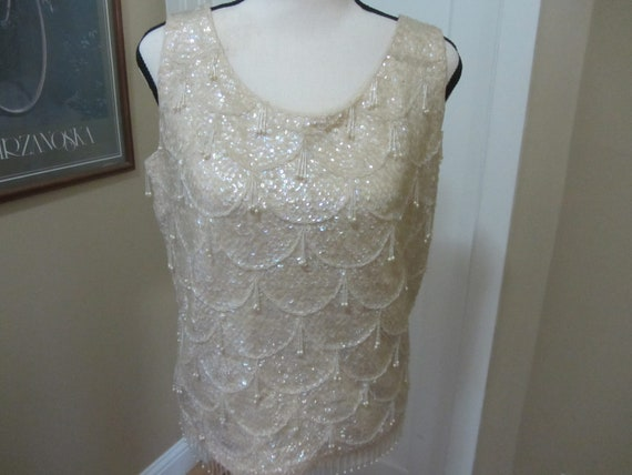1940's Sequin Faux Pearl Top