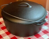 Vintage Unmarked BSR Cast Iron Dutch Oven with Lid, No. 10, 12 5 8 , Restored, Seasoned, Birmingham Stove and Range, Big Stew Pot