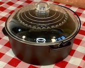 Unmarked Wagner Ware 5 Quart Cast Iron Dutch Oven with Glass Lid, Vintage, Restored, Seasoned