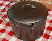 BSR Cast Iron Flat Bottom Pot with Lid, Vintage 7 Quart Stock Pot No. 8, Restored Kettle, Seasoned, Birmingham Stove and Range