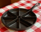 Lodge Cast Iron Corn Bread Skillet, 9 8 Cup Divided Wedge Pan, Restored, Seasoned, Triangle Muffin Pan