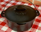 Wagner Ware Sidney O Cast Iron Round Roaster No. 6 with Drip Drop Baster Lid, Antique Small Dutch Oven and Cover, Restored, Seasoned