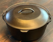 Lodge Cast Iron Dutch Oven with Lid, No. 8 DO, 10 1 4 , Restored, Seasoned, Stew Pot, Vintage Unmarked
