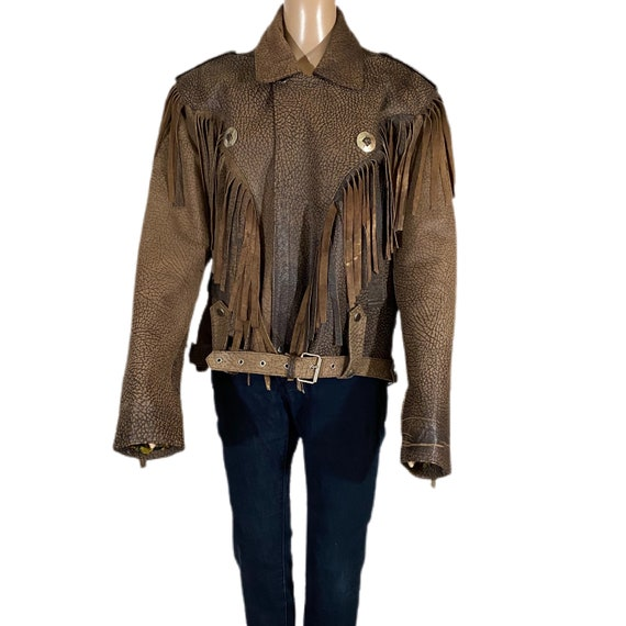 VTG NICOLE SARHADY Leather Jacket Fringe Fringe Fr