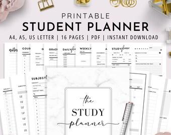 Student Planner Printable , Study Planner, School Planner, College Planner, Planner for Students | A4, A5, US Letter | PDF Instant Download