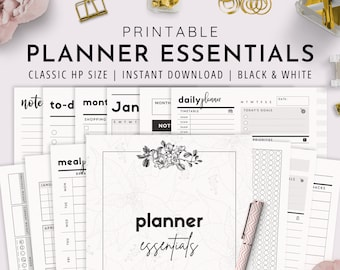 Classic HP, Planner Essentials, Daily Planner, Weekly Planner, Planner Kit, Monthly Planner | PDF Black and White Version