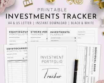 Investments Tracker, Investment Planner, Investments Portfolio Tracker, Stocks, Index Fund, Crypto | A4, US Letter | PDF Instant Download