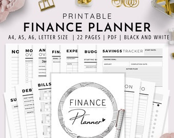 Budgeting Planner, A4, A5, A6, US Letter, Finance Planner, Printable Budget Planner, Financial Planner| Black and White Version