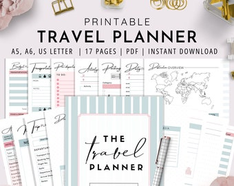 Travel Planner, Printable Travel Planner , Trip Planner, Holiday Planner, Vacation Planner | A5, A6, & US LETTER | 17 PAGES