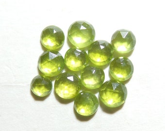 Vesuvianite For Jewelry Making. Stone Size - 5x5-4x4 MM Approx Only At My Shop Natural Vesuvianite Faceted Rose Cut Round Shape Gemstone